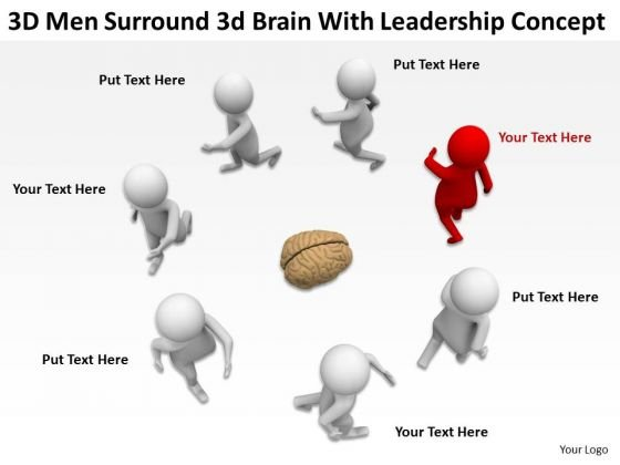 Business People Vector 3d Men Surround Brain With Leadership Concept PowerPoint Slides