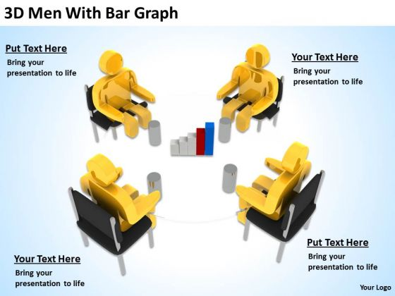 Business People Vector 3d Men With Bar Graph PowerPoint Slides