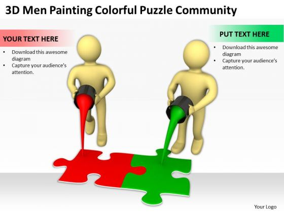 Business People Vector Colorful Puzzle Community PowerPoint Templates Ppt Backgrounds For Slides