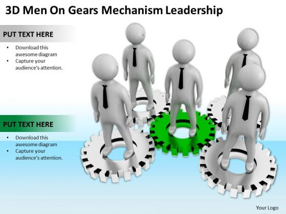 Business People Vector Gears Mechanism Leadership PowerPoint Templates Ppt Backgrounds For Slides