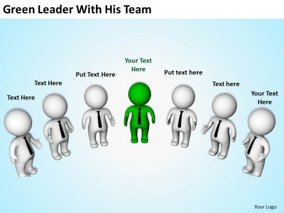 Business People Vector Green Leader With His Team PowerPoint Templates Ppt Backgrounds For Slides