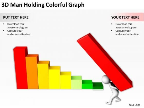 Business People Vector Man Holding Colorful Graph PowerPoint Templates Ppt Backgrounds For Slides