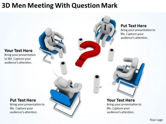 Business People Vector Meeting With Question Mark PowerPoint Templates Ppt Backgrounds For Slides