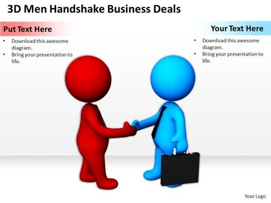 Business People Vector Men Handshake World PowerPoint Templates Deals