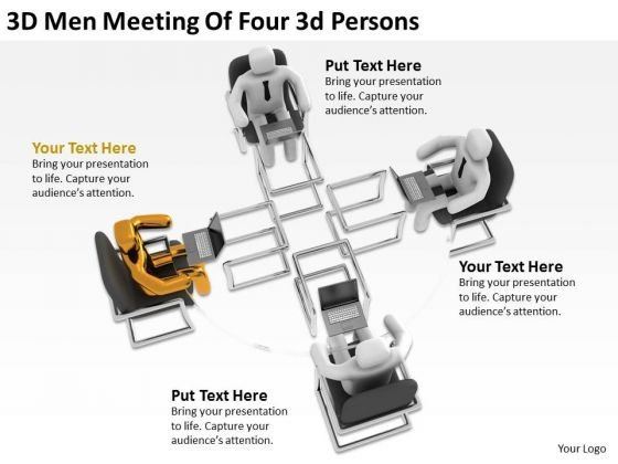 Business People Vector Men Meeting Of Four Persons PowerPoint Templates Ppt Backgrounds For Slides