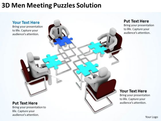 Business People Vector Men Meeting Puzzles Solution PowerPoint Templates Ppt Backgrounds For Slides