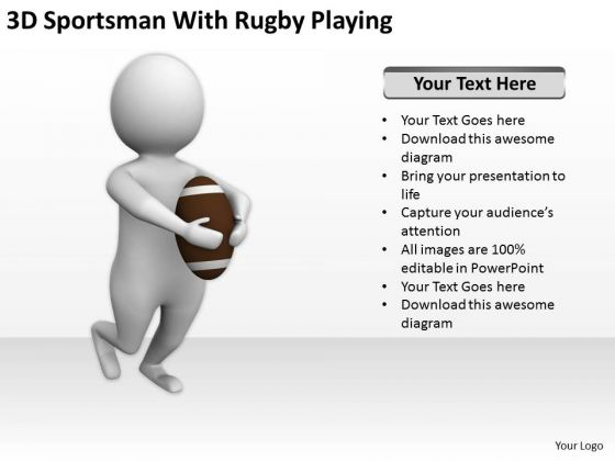 Business People Vector Sportsman With Rugby Playing PowerPoint Templates Ppt Backgrounds For Slides