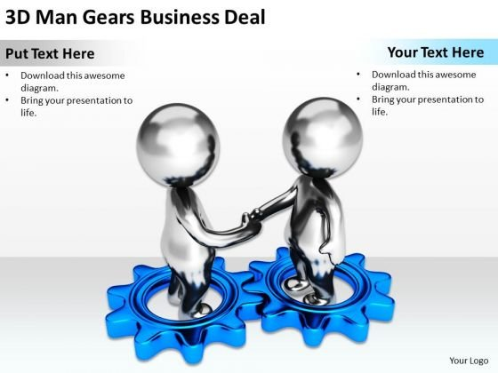 Business People Walking 3d Man Gears PowerPoint Templates Download Deal Slides