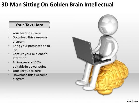 Business People Walking 3d Man Sitting On Golden Brain Intellectual PowerPoint Slides