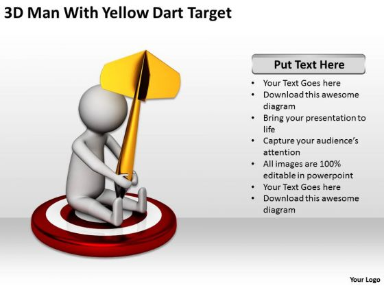 Business People Walking 3d Man With Yellow Dart Target PowerPoint Templates