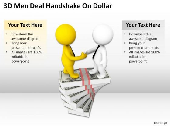 Business People Walking 3d Men Deal Handshake On Dollar PowerPoint Slides