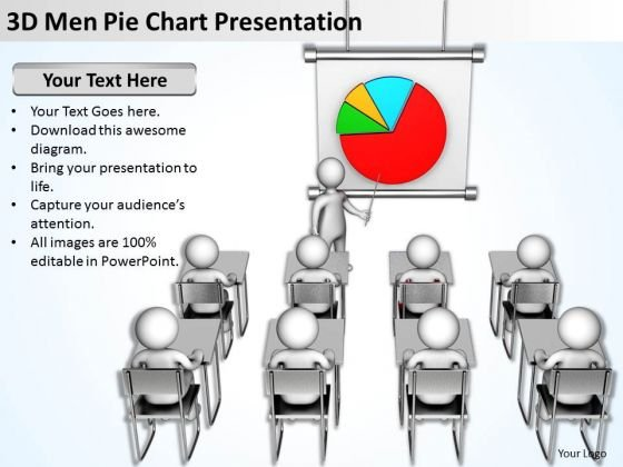 Business People Walking 3d Men Pie Chart Presentation PowerPoint Templates
