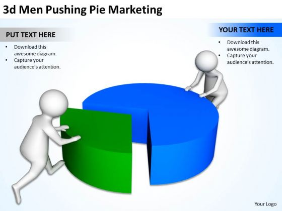 Business People Walking 3d Men Pushing Pie Marketing PowerPoint Templates