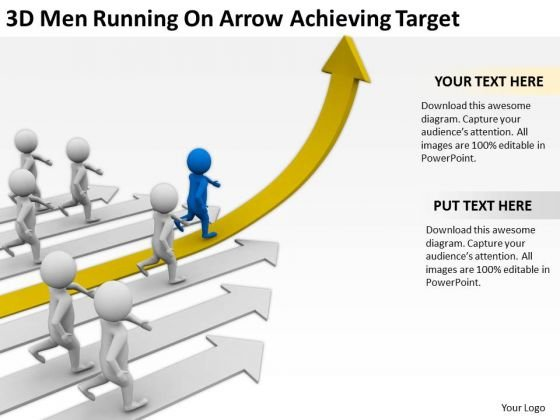 Business People Walking 3d Men Running On Arrow Achieving Target PowerPoint Slides