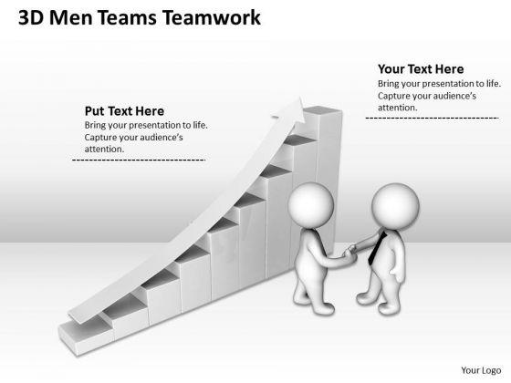 Business People Walking 3d Men Teams Teamwork PowerPoint Slides