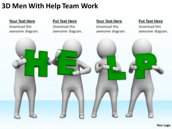 Business People Walking 3d Men With Help Team Work PowerPoint Templates