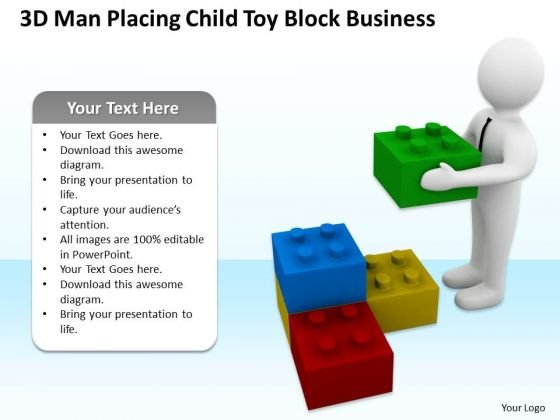 Business People Walking Child Toy Block World PowerPoint Templates Slides