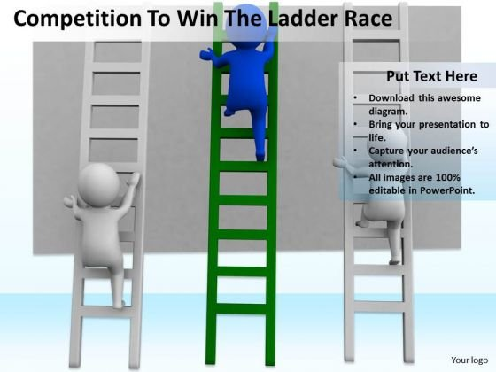 Business People Walking Competition To Win The Ladder Race PowerPoint Templates