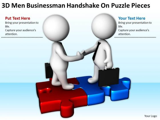 Business People Walking Handshake On Puzzle Pieces PowerPoint Templates Ppt Backgrounds For Slides