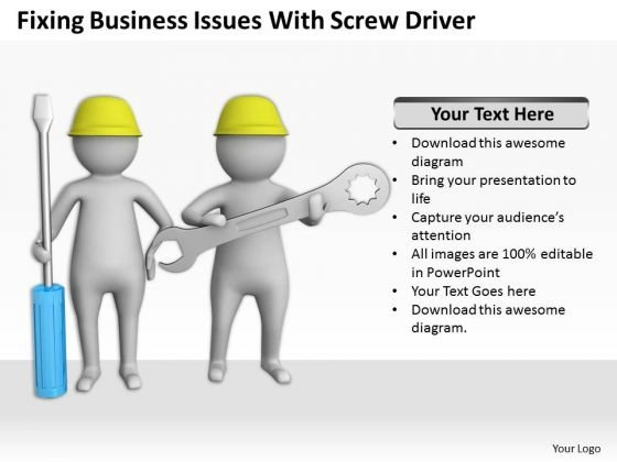 Business People Walking PowerPoint Presentation Issues With Screw Driver Templates