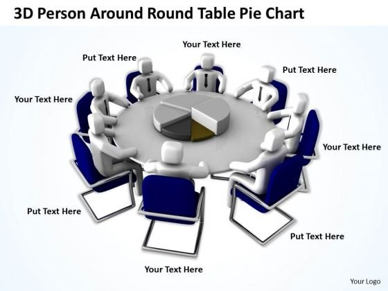 Business Persons 3d Around Table Pie Chart PowerPoint Templates