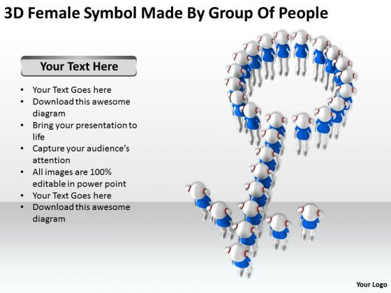 Business Persons 3d Female Symbol Made By Group Of People PowerPoint Templates