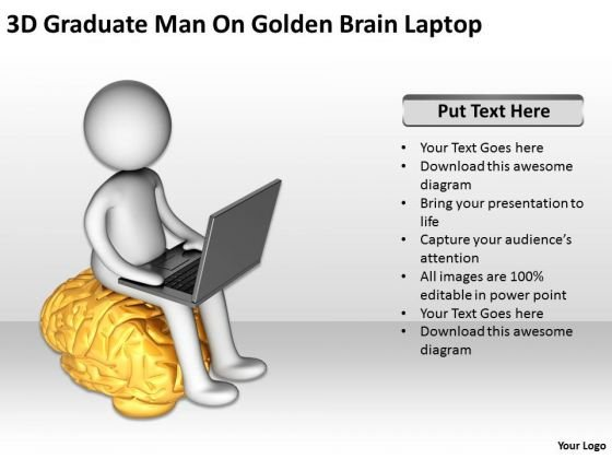 Business Persons 3d Graduate Man Golden Brain Laptop PowerPoint Templates