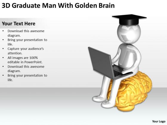 Business Persons 3d Graduate Man With Golden Brain PowerPoint Templates