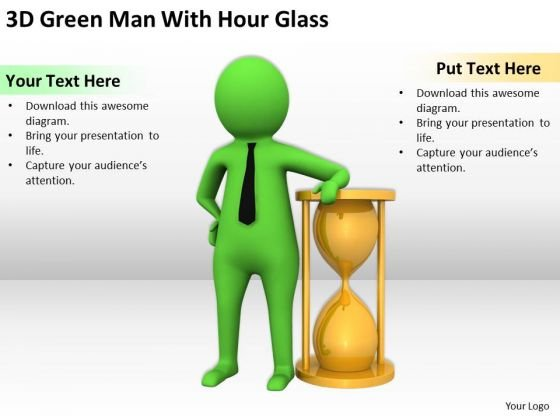 Business Persons 3d Green Man With Hour Glass PowerPoint Templates Ppt Backgrounds For Slides
