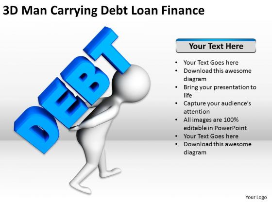 Business Persons 3d Man Carrying Debt Loan Finance PowerPoint Templates