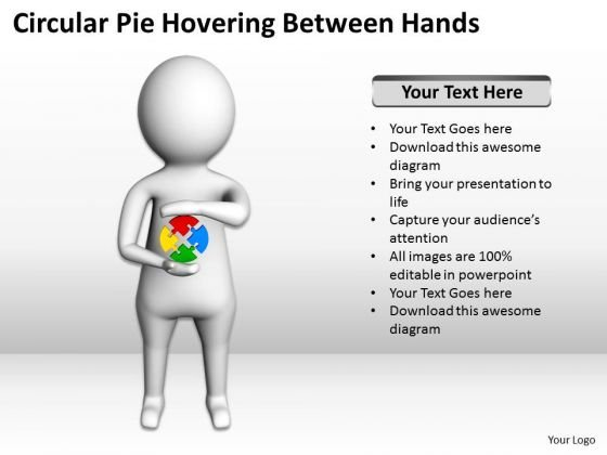 Business Persons 3d Man Circular Pie Hovering Between Hands PowerPoint Templates