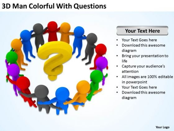 Business Persons 3d Man Colorful With Questions PowerPoint Templates