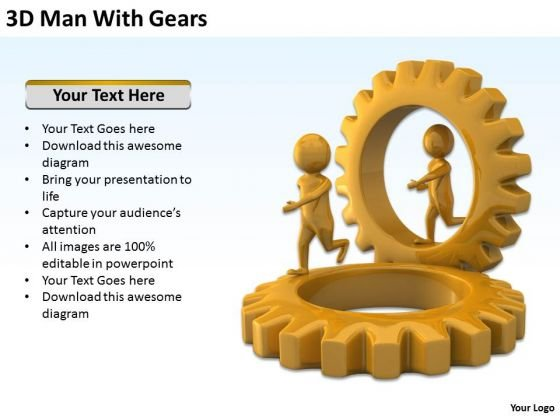Business Persons 3d Man With Gears PowerPoint Templates Ppt Backgrounds For Slides