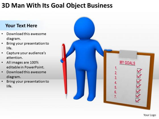 Business Persons 3d Man With Its Goal Object World PowerPoint Templates Slides