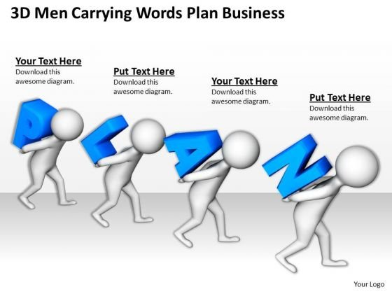 Business Persons 3d Men Carrying Words Plan PowerPoint Templates