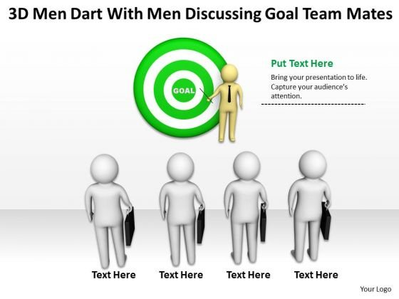Business Persons 3d Men Dart With Discussing Goal Team Mates PowerPoint Templates