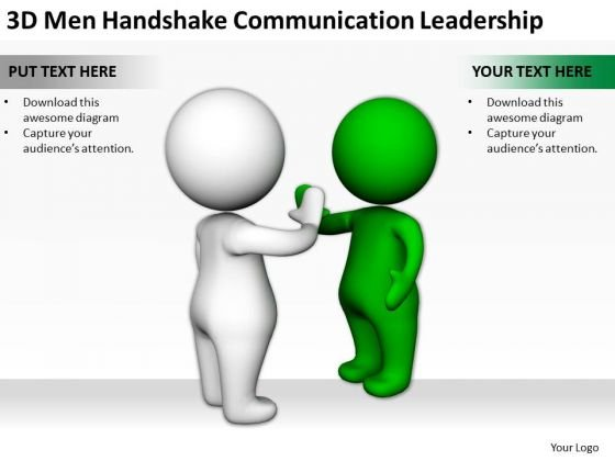 Business Persons 3d Men Handshake Communication Leadership PowerPoint Slides