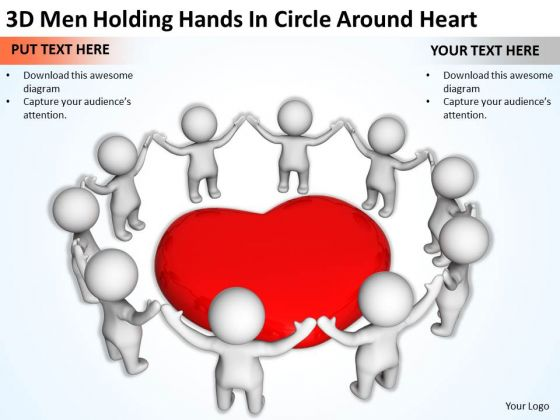 Business Persons 3d Men Holding Hands Circle Around Heart PowerPoint Slides