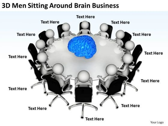 Business Persons 3d Men Sitting Around Brain New PowerPoint Presentation Slides