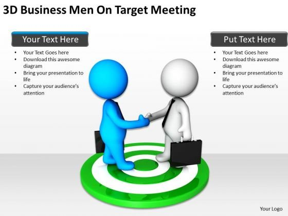 Business Persons 3d Men Target Meeting PowerPoint Templates