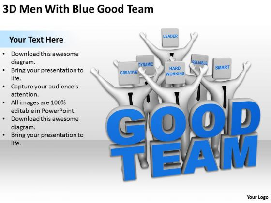 Business Persons 3d Men With Blue Good Team PowerPoint Templates Ppt Backgrounds For Slides