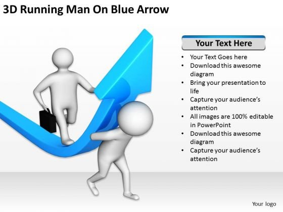 Business Persons 3d Running Man Blue Arrow PowerPoint Templates Ppt Backgrounds For Slides