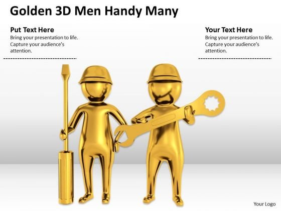 Business Persons Golden 3d Men Handy Many PowerPoint Templates