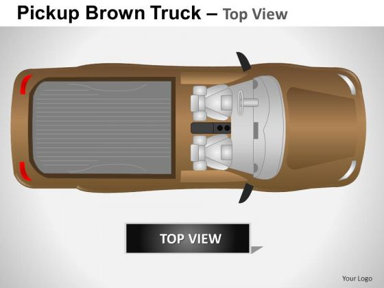 Business Pickup Brown Truck Top View PowerPoint Slides And Ppt Diagram Templates