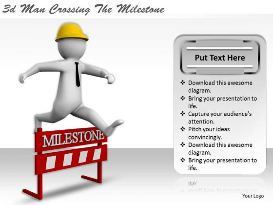 Business Plan And Strategy 3d Man Crossing The Milestone Concept Statement