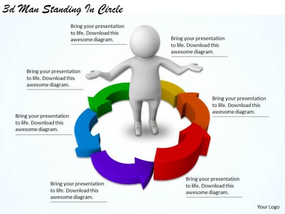 Business Plan And Strategy 3d Man Standing Circle Adaptable Concepts