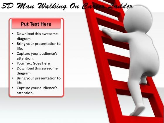 Business Plan And Strategy 3d Man Walking On Career Ladder Characters