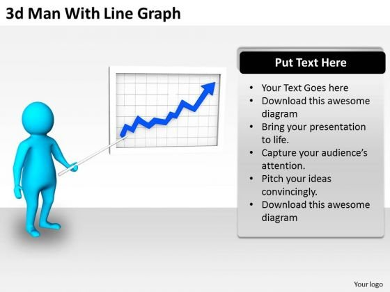 Business Plan And Strategy 3d Man With Line Graph Adaptable Concepts