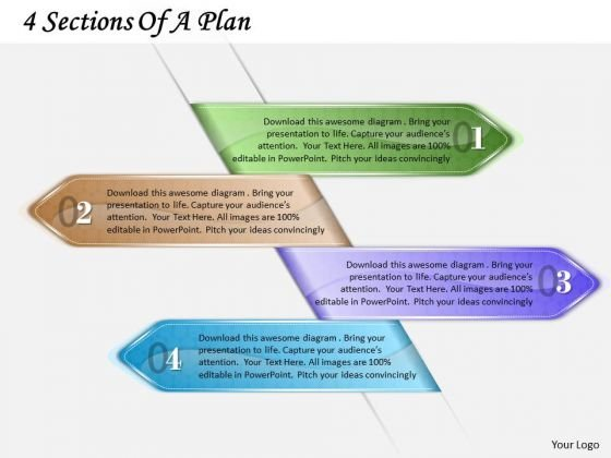 Business Plan And Strategy 4 Sections Of Strategic Planning Template Ppt Slide