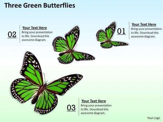 Business Plan And Strategy Three Green Butterflies Images Photos